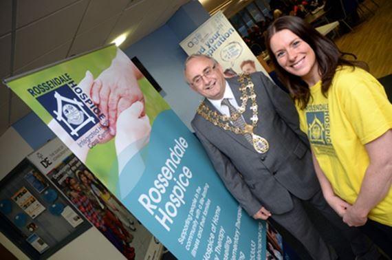 Mayor of Rossendale Cllr Granville Morris and Alison Whittaker-Stewart from Rossendale Hospice
