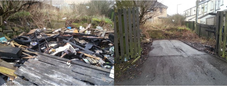 Clough Road Bacup Before and After