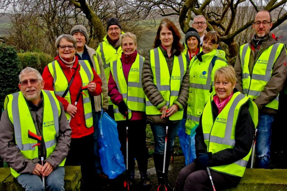 Civic Pride volunteers in Newchurch alongside out Chief Executive Stuart Sugarman, Head of Operations Paul McHenry and Cllr Lamb, Portfolio Holder for Operations