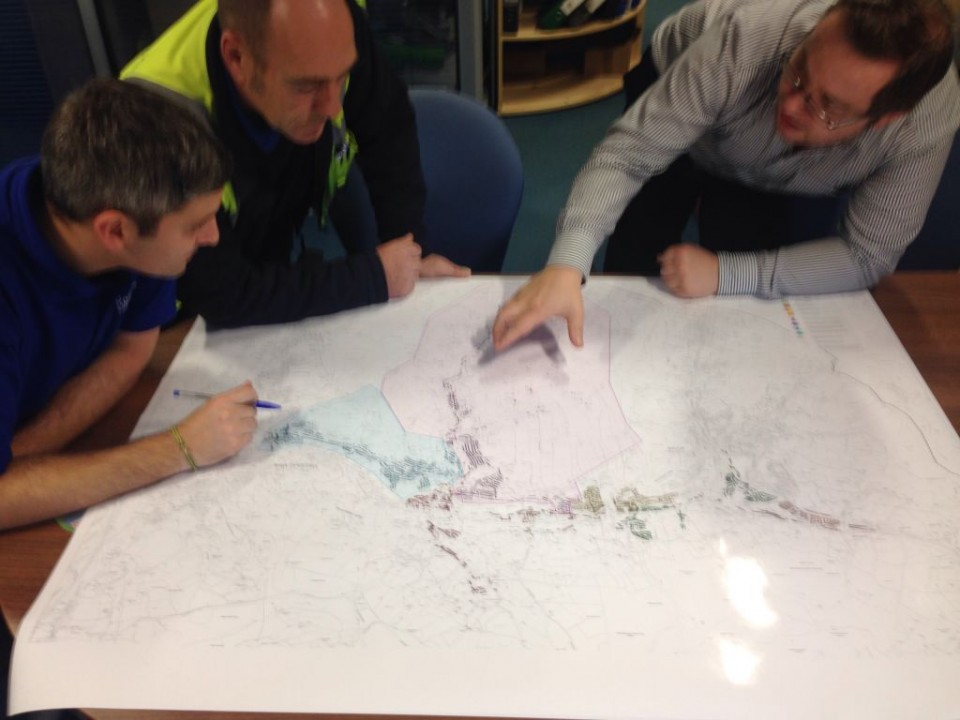 Part of our Operations Team analysing the waste collection routes for Rossendale to ensure efficient working practices