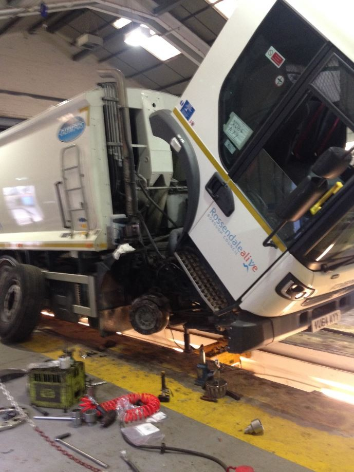 Our Ops Team doing essential servicing to ensure our fleet of bin wagons are roadworthy and legal