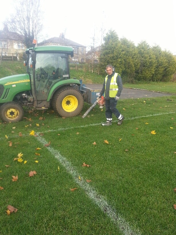 Our Parks & Open Spaces Team have been clearing leaves away on St Peters Playing field, prior to over marking the football pitches