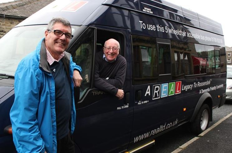 On the road: The REAL minibus with, from left, chair of Dementia Friendly Rossendale Brian Topping and Vice-chairman of REAL Barry Payton.
