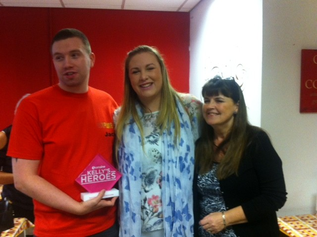 Jack with his Kelly's hero award, partner Evelyn and Pat