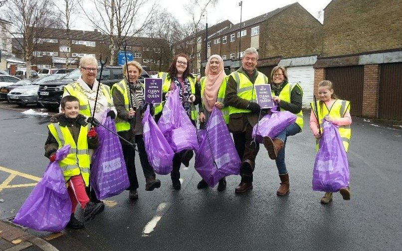 The photo shows the Mayor of Rossendale Cllr Marilyn Proctor, Council Leader Alyson Barnes, Sir David Trippier with Selina McConnell, Leesa Amin and volunteers from Love Haslingden