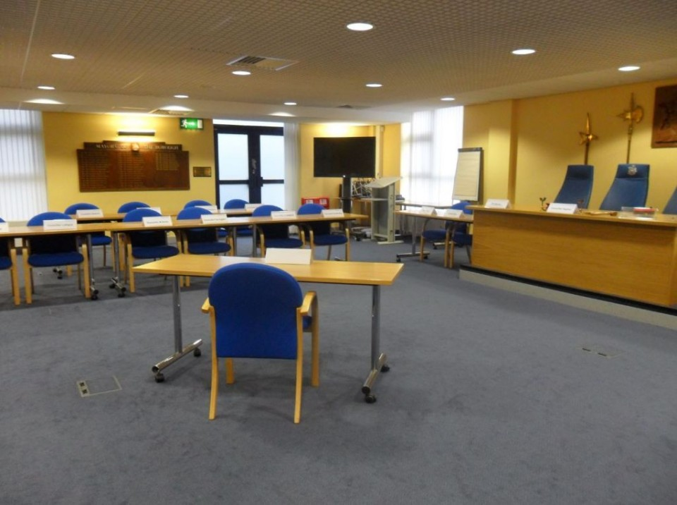 Our Democratic Services Team have been busy this afternoon setting up our Council Chamber for a committee meeting