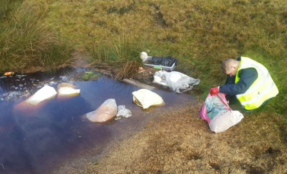 Our Enforcement Officer, Martyn, investigating a fly tipping incident at Whitworth Rake earlier today