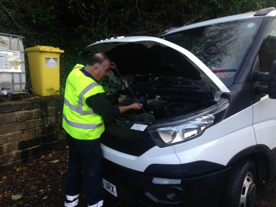 One of our Town Centre Caretakers doing his vehicle checks before starting a hard day cleansing the valley
