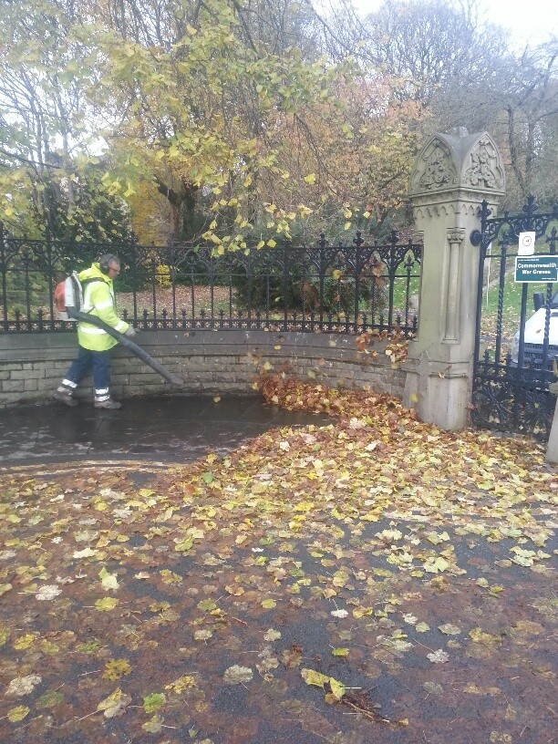 Our Cemetery Team have been clearing leaves in Rawtenstall cemetery entrance before the Blessing of the Graves on Sunday 20.11.2016