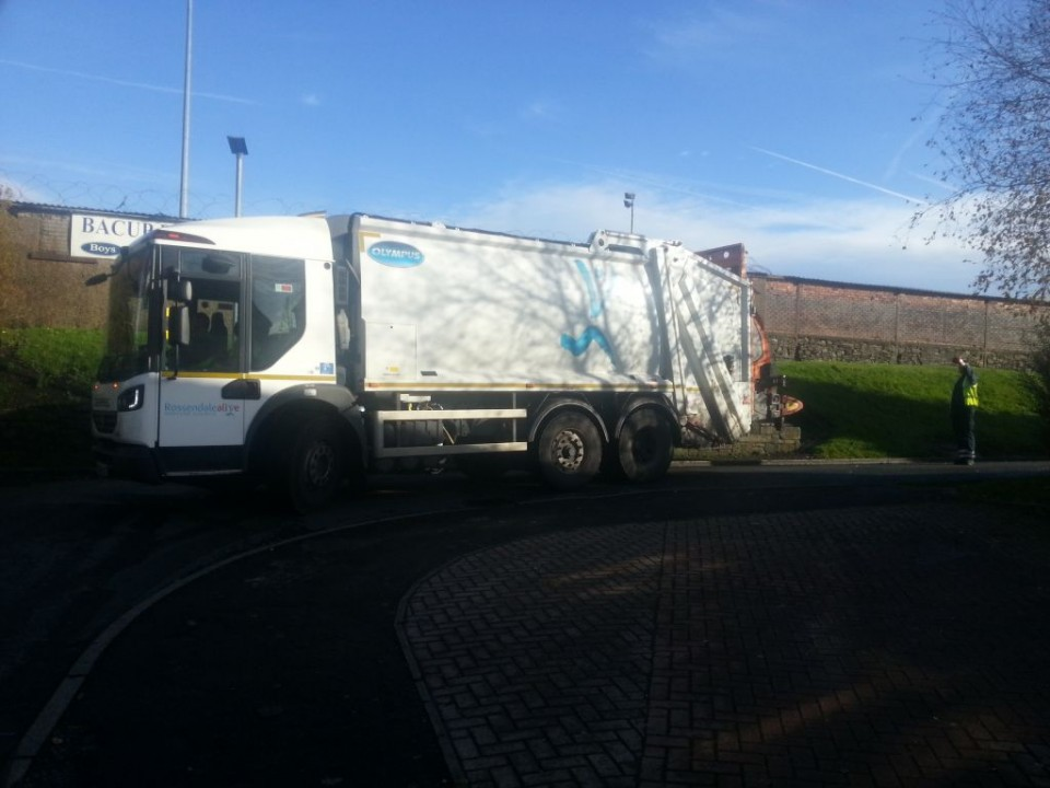 Our Refuse Staff operating safely by following health and safety guidance helping our Garden Waste wagon to reverse!