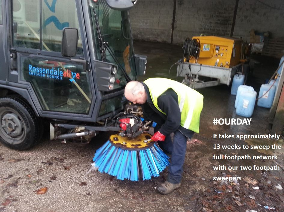 One of our Street Cleansing Operatives changing the brushes on our footpath sweeper