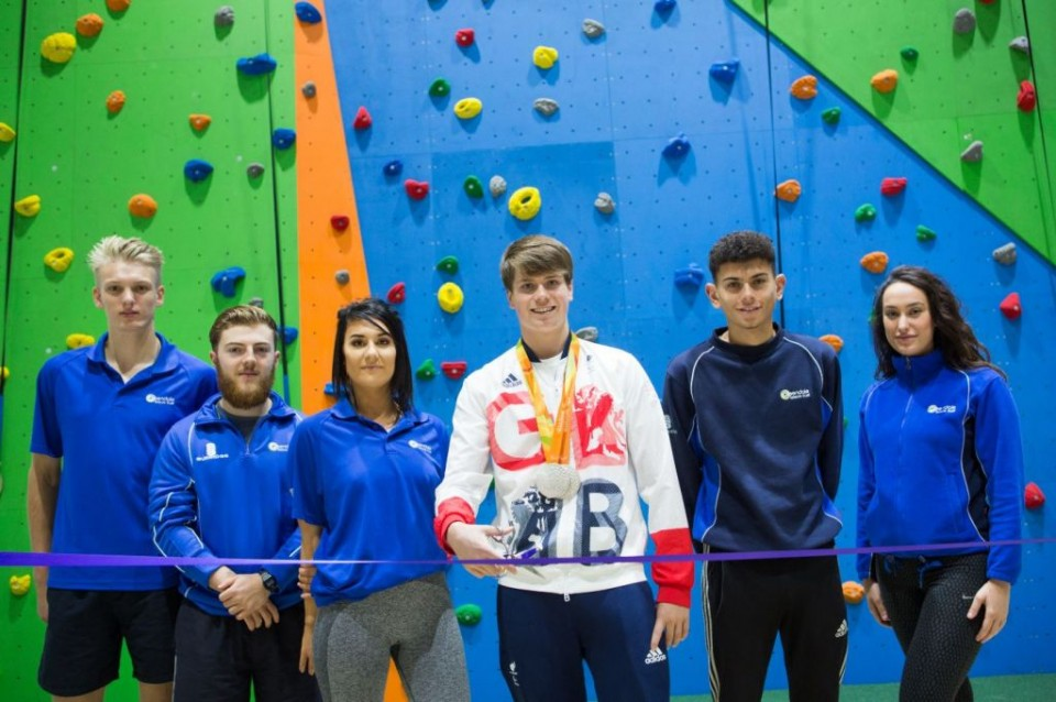 Double Silver Medal Paralympian Tom Hamer with Rossendale Leisure Trust Staff at the Grip & Go facility